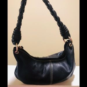Ralph Lauren Black Twisted Handle Baguette Bag